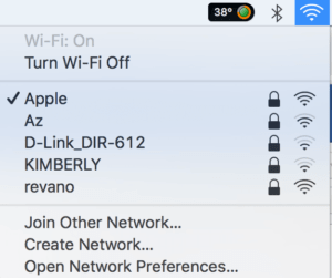 menu wi-fi macbook